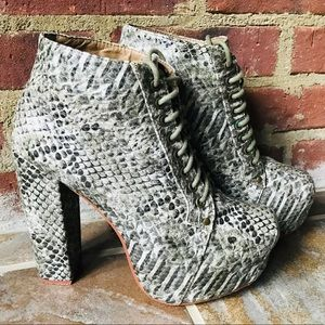 VINTAGE Python🔥Lace Up Heel Ankle Boots Sz 8 SEXY